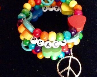 Peace Love and Rainbows bracelet (med)   (#BRAC6)