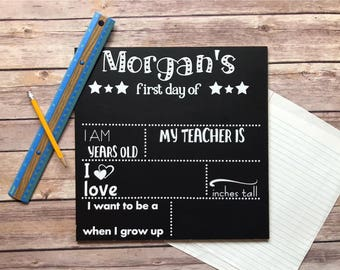 Personalized First Day of School Chalkboard Sign / School Stats / Reusable Chalkboard / Back To School