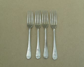 Table Forks - 1945/WW2 Era - Nickel Silver - Broad Arrow - Government/Military Issue - B&J Sippel Ltd - Vintage Nickel Silver