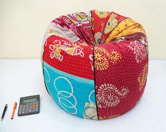Handmade Cotton Slipcover And Insert Floral Bean Bag Chair Home Decor Round Bohemian Decorative Embroidered