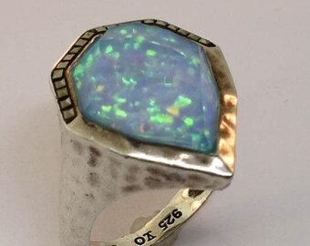 Vintage Judith Jack Sterling Silver Opal Marcasite Waterfall Ring Size 8