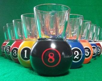 Modern Style Pool Ball Shot Glasses Full Set