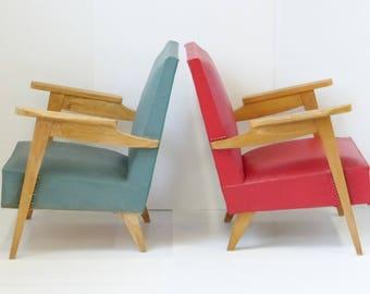 Pair of armchairs french 50s vintage rockabilly zazou era 50s atomic 50's