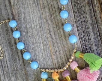 Multi Tassel Necklace With Blue Beads,  Spring Jewelry, Summer Jewelry, Boho Style Jewelry