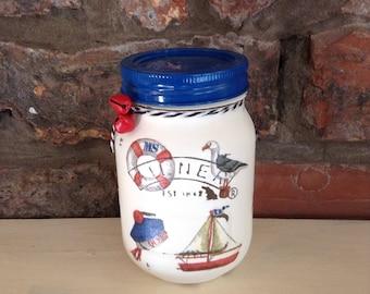 Seaside, Sailor Treat Jar,  Mason Jar, storage