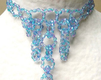 Necklace chain blue & Rose - crew neck with pendants