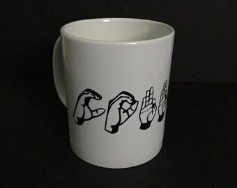 COFFEE in Sign Language, 12 oz coffee mug, ASL