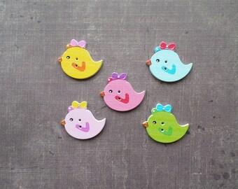 10 wooden buttons shaped animals bird bow