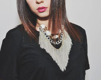Maxi Boho chic necklace with white onyx and chain fringe. Made in Italy. Christmas,Birthday gift idea. Italian necklace. Fringed necklace
