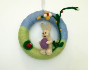 Easter Wreath Bunny, Spring Wreath Easter, Needle Felted, Wool Ornaments, Rabbit felt, Handmade, Decoration, Gift, Home Decor, Animal, Egg