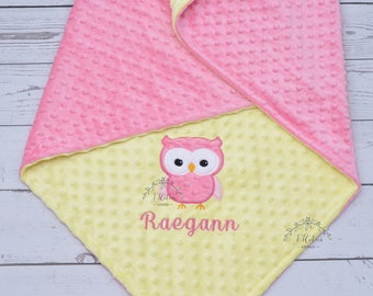 Personalized Owl Baby Blanket-Owl baby blanket-Personalized Owl Minky blanket-Minky Owl Blanket-Minky baby blanket-Baby Girl minky blanket