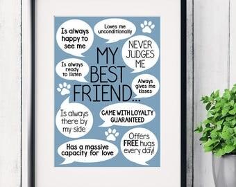 Reasons my dog is my best friend art print, dog lover gifts, dog owner gifts, dog art print, funny dog sayings, crazy dog lady print