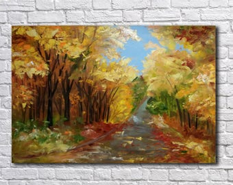 Landscape painting Abstract painting Large Wall Art Autumn forest Impasto modern art Original oil painting  Wall Decor