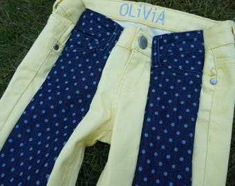 Polka Dot Yellow Colorblock Jeans
