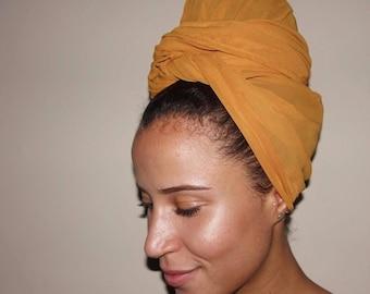 Mustard Chiffon Multi-Use Head Wrap
