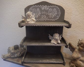 wooden shelf painted rose design lace