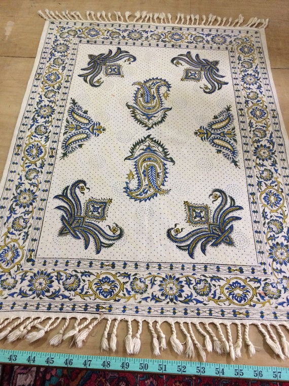 Vintage block printed Table runner, traditional hand dyed wall decor, tablecloth, natural textile, tapestry