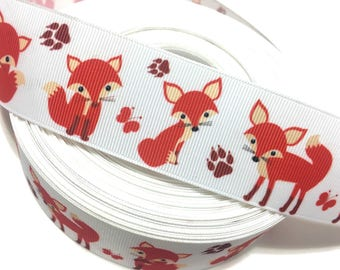 "1.5"" Orange Fox Ribbon, Fox Grosgrain Ribbon, Foxes Ribbon,Red fox ribbon, Woodland Ribbon"