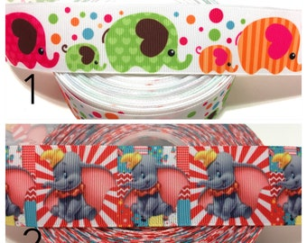 Elephant Ribbon by the Yard, Elephant Grosgrain Ribbon, Baby elephant ribbon, Dumbo Ribbon, Animals Ribbon