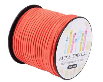 10 meters Cordon imitation suede 3mm x 1.5 mm coral