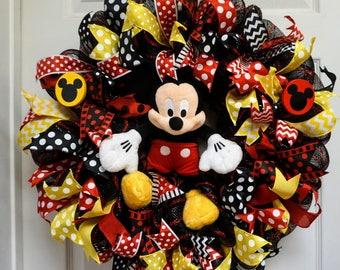 Disney Wreath, Mickey Wreath, Mickey Mouse Wreath, Classroom Wreath, Mickey Decor, Mickey Mouse Classroom
