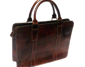 Handmade Genuine Full Grain Leather Laptop Messenger Bag Satchel Briefcase - The Metropolitan