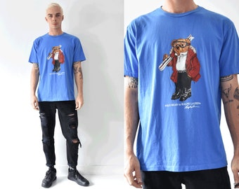 Polo Bear By Ralph Lauren Blue Ski 90s Tshirt / Large Ralph Lauren Crew Neck Tshirt