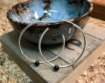 Sterling Silver Hoops with Cabochon