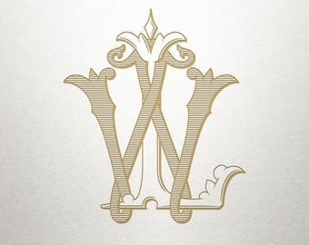 Wedding Monogram Design - LW WL - Wedding Monogram - Digital