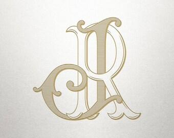 Wedding Initials Logo - JR RJ - Wedding Initials - Vintage