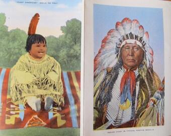 Indians of North America Souvenir Folder / Vintage folding postcard / Kropp