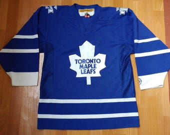 Official NHL Toronto Maple Leafs jersey, vintage Koho blue t-shirt, 90s hip-hop clothing, 1990s hip hop, hockey size M Medium Made in Canada