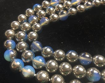 Half Silver Coated Opalized Glass Smooth Round Loose Beads Size 8mm/10mm/12mm Approximate 15.5 Inches per Strand.R-S-OPA-0400