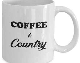 COFFEE & COUNTRY Mug - Gift for Country Girls and Guys - Farm Life - 11 oz white coffee tea cup