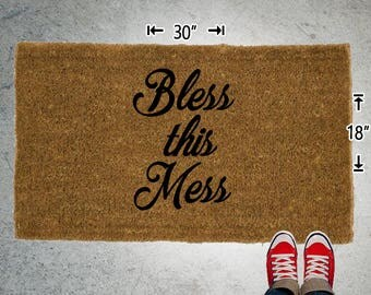 Bless This Mess Coir Doormat - 18x30 - Welcome Mat - House Warming - Mud Room - Gift - Custom