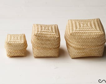 Set of 3 Assorted Small Woven Rattan Wicker Baskets with Lid Cube Handmade Box