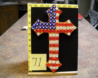 Wooden Cross, Item #71 with Vintage Buttons