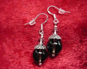 earrings with Brown quartz and rock crystal beads