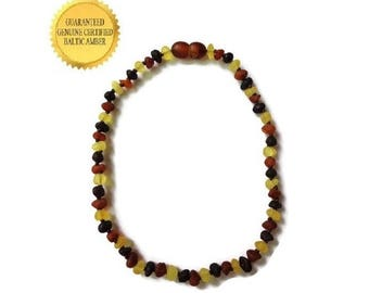 Amber Teething Necklace, RAW Baltic Amber Baby Necklace, Real Amber Beads, Natural Anti Inflammatory, Reduce Teething Pain, SAFETY Knotted