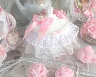 Candy box shabby chic lace and pearls powder pink and white powder