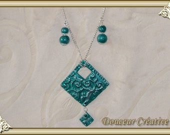 Green necklace Emerald teal square embossed 103015