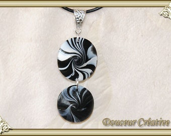 Necklace Black White Leather spiral 103030