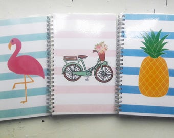 Printed, Coil Bound Notebooks | Blank, Dot Grid, Lined Pages | Choice Of Covers, Pineapple, Flamingo and Bicycle