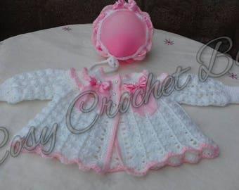 Handmade bonnet and matinee  set