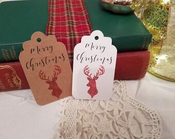 Reindeer Tags - Christmas Tags - Holiday Tags - Christmas Gift Tags - Merry Christmas Tags - Festive Gift Tags - Winter Tags - Set of 10