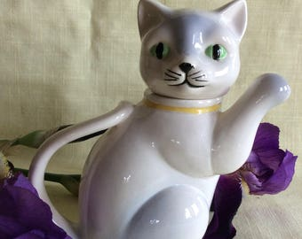 Vintage ceramic cat creamer collectible white pitcher novelty