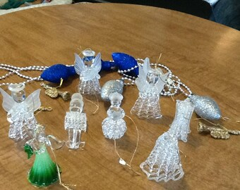 8 Set Hand Blown Glass Christmas ornaments and light bulb garland