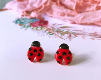 ladybird earrings, fun polymer clay nature inspired earrings,  handmade