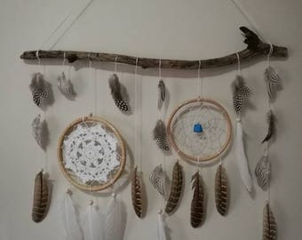 Boho driftwood dream catcher with turquoise wall decor