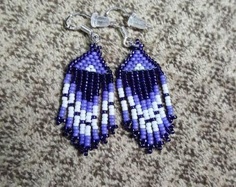 "Handmade Native American Beaded Earrings w Sterling Silver hooks. Very lightweight! 1/2"" x 2"". Made in USA. Miyuki size 15 beads."